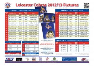 Cobras fixtures A4 poster 260912